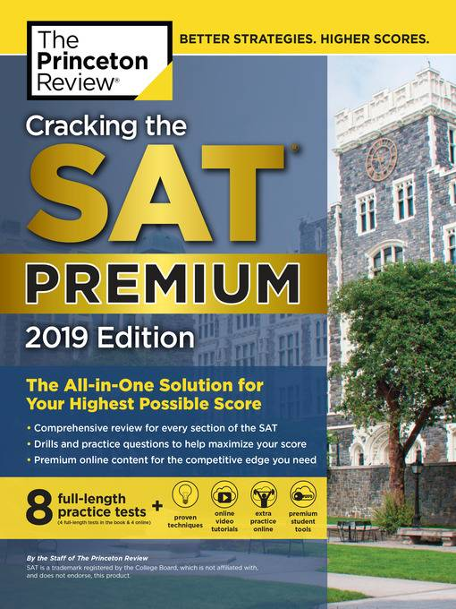 Cracking the SAT Premium ( 2019 Edition) The Princeton Review (8 full-length practice tests)