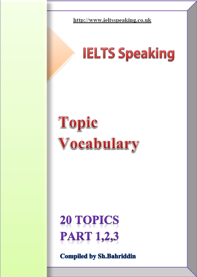 Ielts speaking: 20 Topics part 123, Topic vocabulary compiled by Sh.Bahriddin