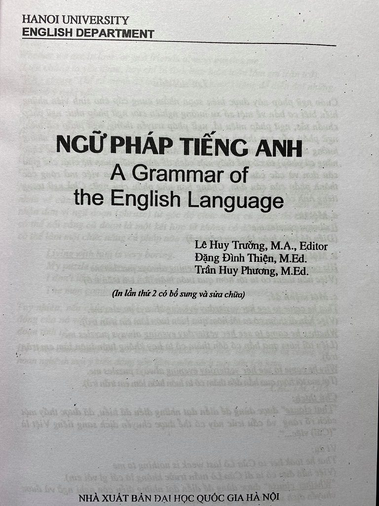 Ngữ pháp tiếng Anh, A grammar of the English Language Hanoi University English Department