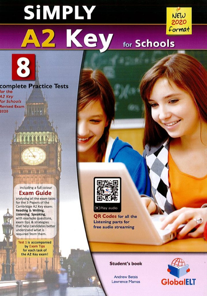 simply A2 key for school, new 2020 format, 8 complete practice test, globalelt